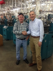 Fred Rich, Dapper Classics President (right), with Doug, a mill employee for 47 years.