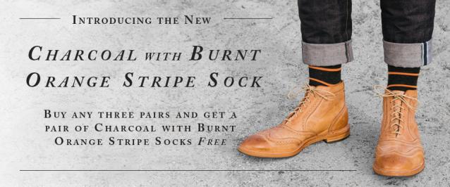 Charcoal with Burnt Orange Stripe Sock