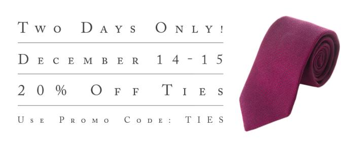 Decmember 2015 Tie Sale